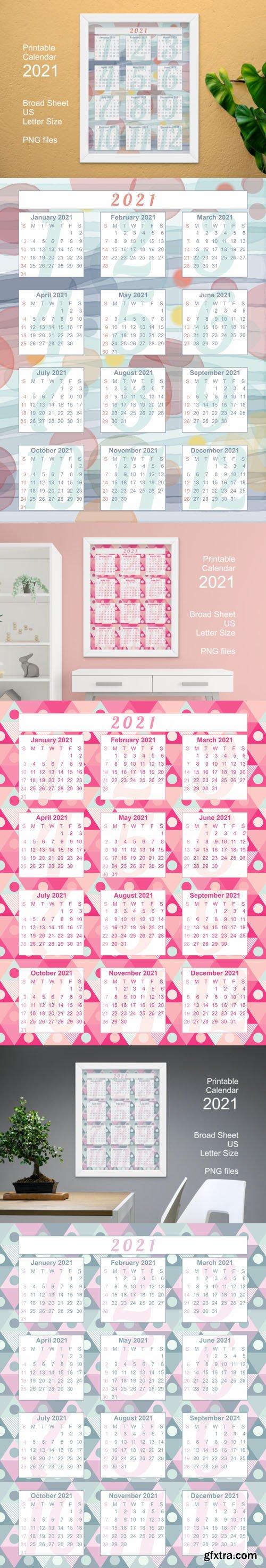 3 Printable Calendar 2021 in PNG
