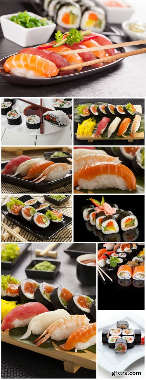 Delicious sushi sets stock photo