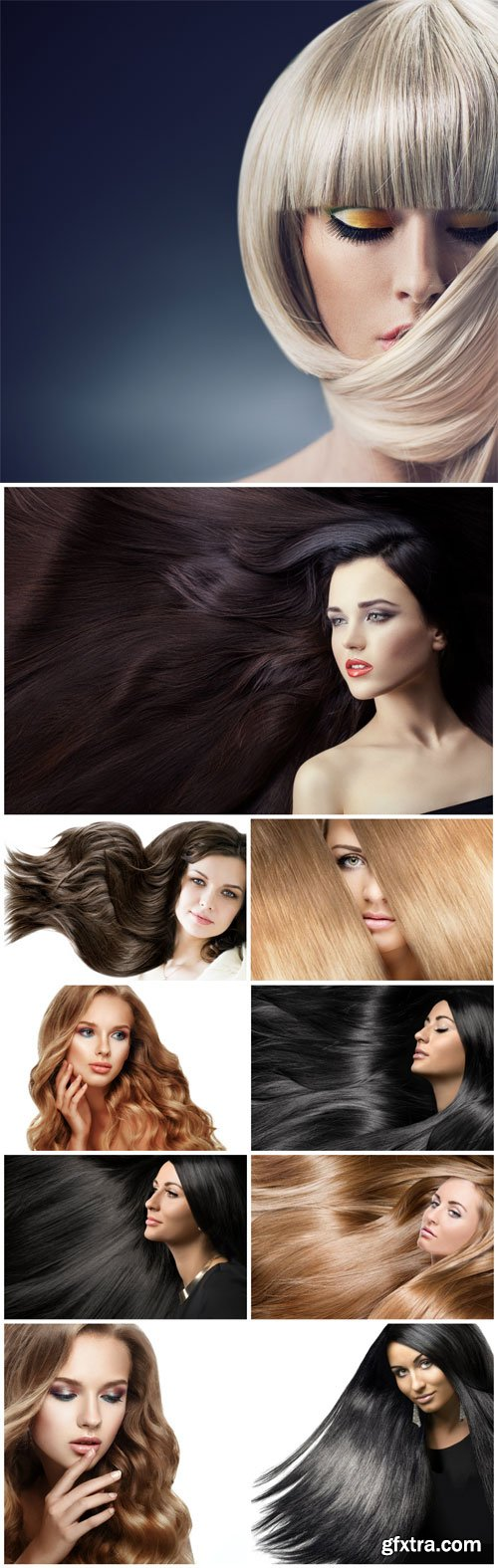 Girls with groomed long hair stock photo