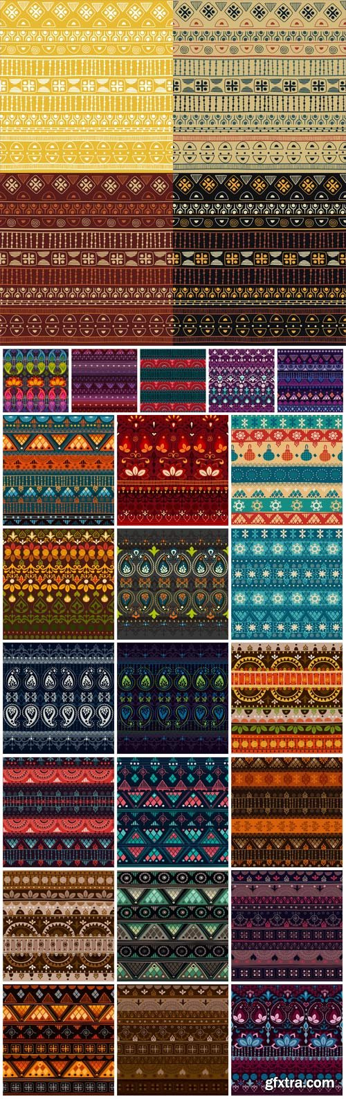 Multicolored seamless texture with ornaments in vector