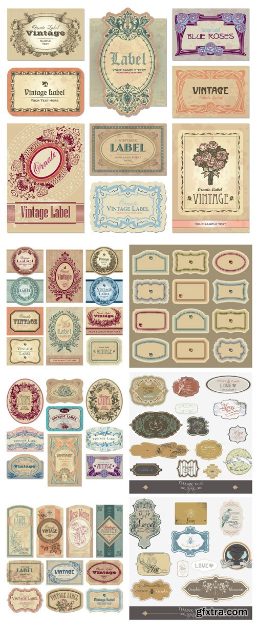 Vintage original labels in vector