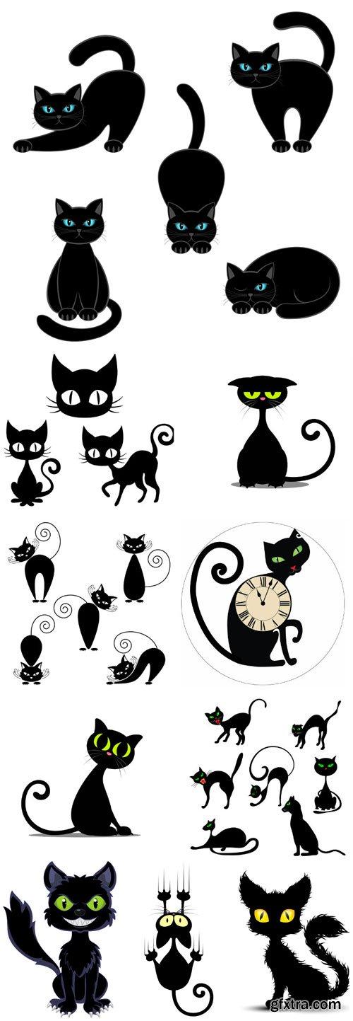 Black cats in vector