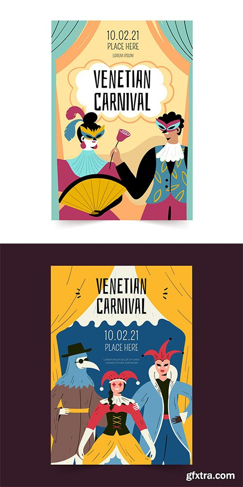 Hand-drawn venetian carnival poster