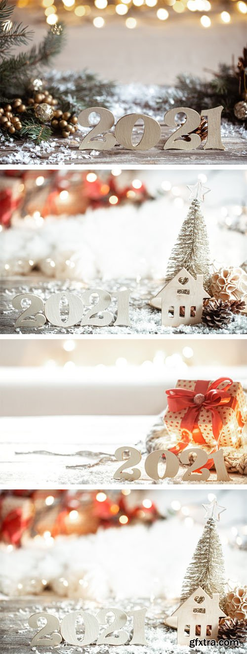 4 New Year Backgrounds with Decorative Wooden 2021