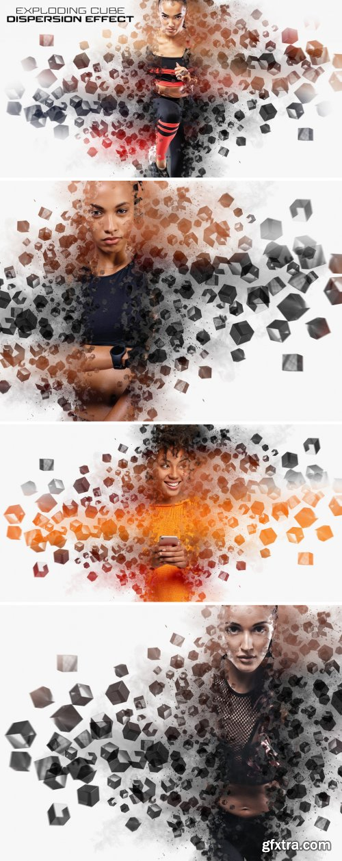 Dispersion Photo Effect with Cubes and Explosion Mockup 401053666
