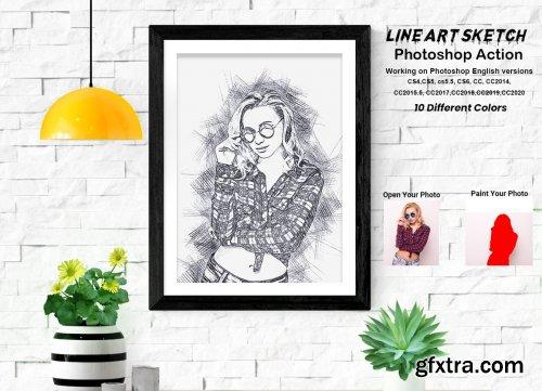 CreativeMarket - Line Art Sketch Photoshop Action 5709720
