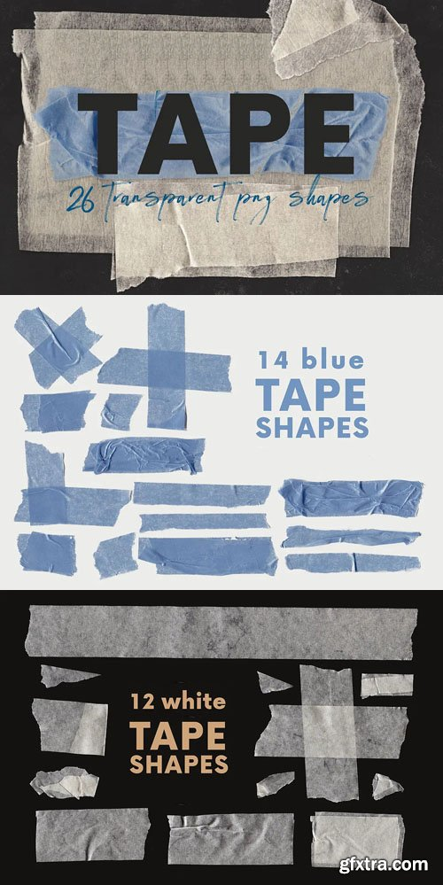 26 Tape PNG Shapes + PSD Templates