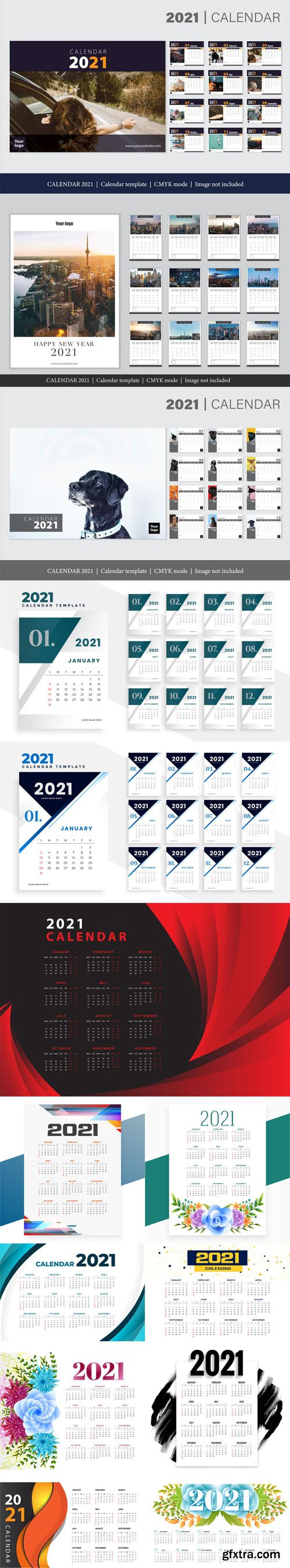 14 New Year 2021 Calendars Vector Templates Collection