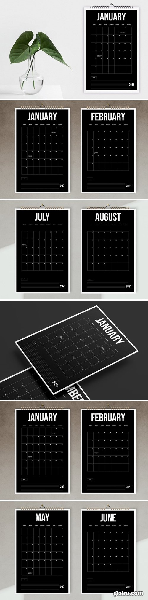 Black Wall Calendar 2021 Template
