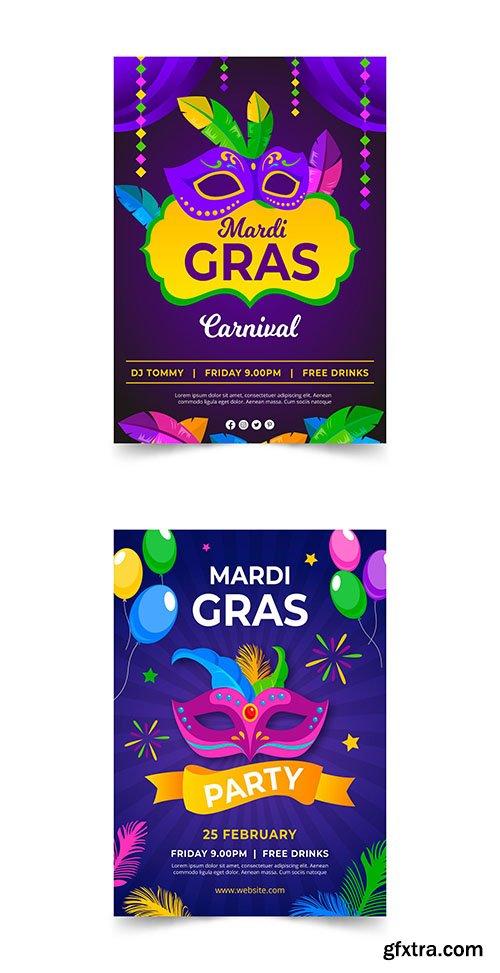 Mardi gras poster template flat design