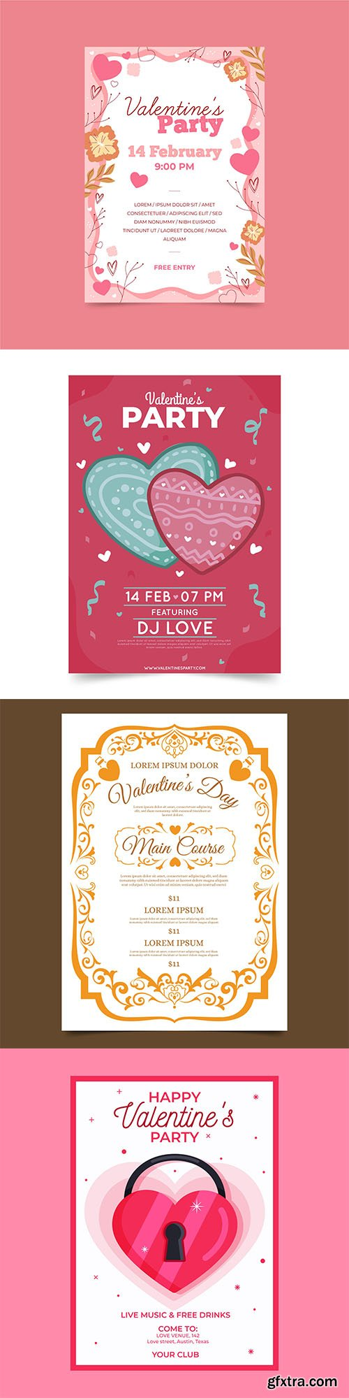 Hand-drawn valentines day party poster template