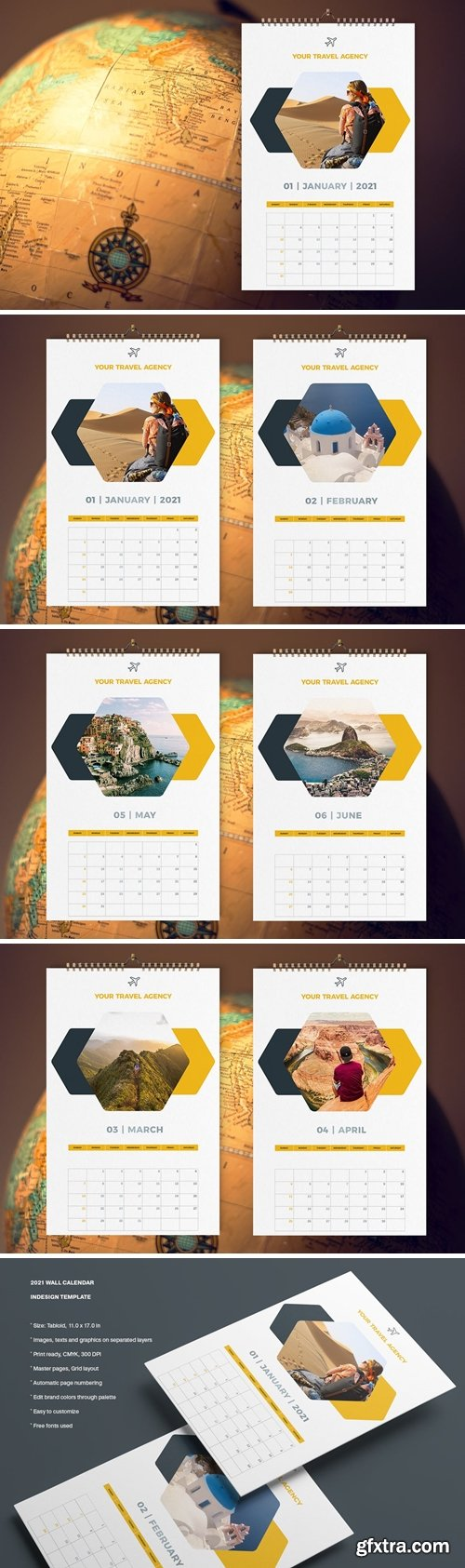 Travel Calendar 2021 Template
