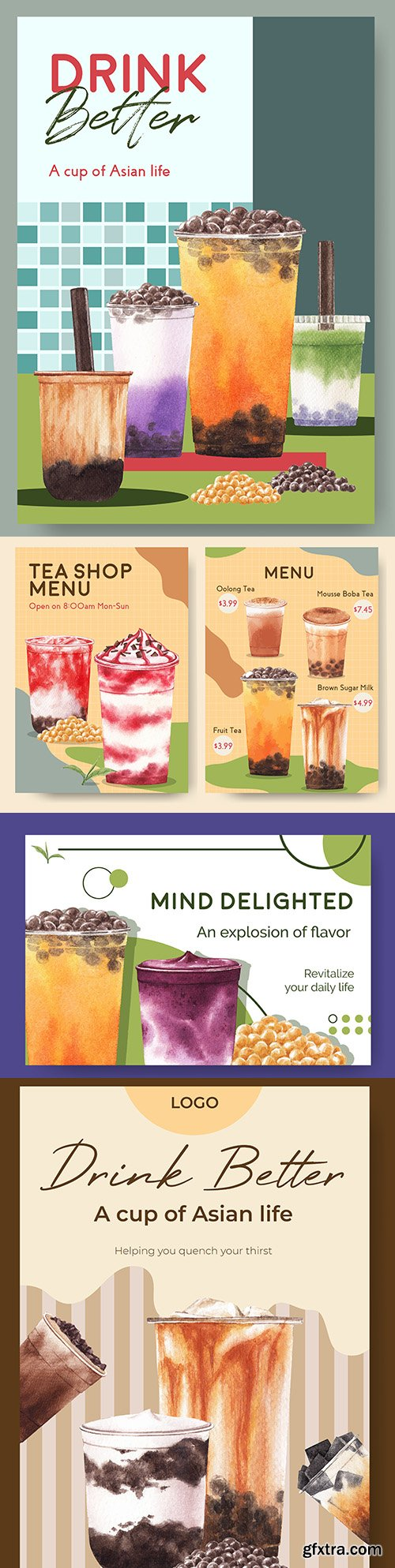 Menu template and banner with bubble tea with milk