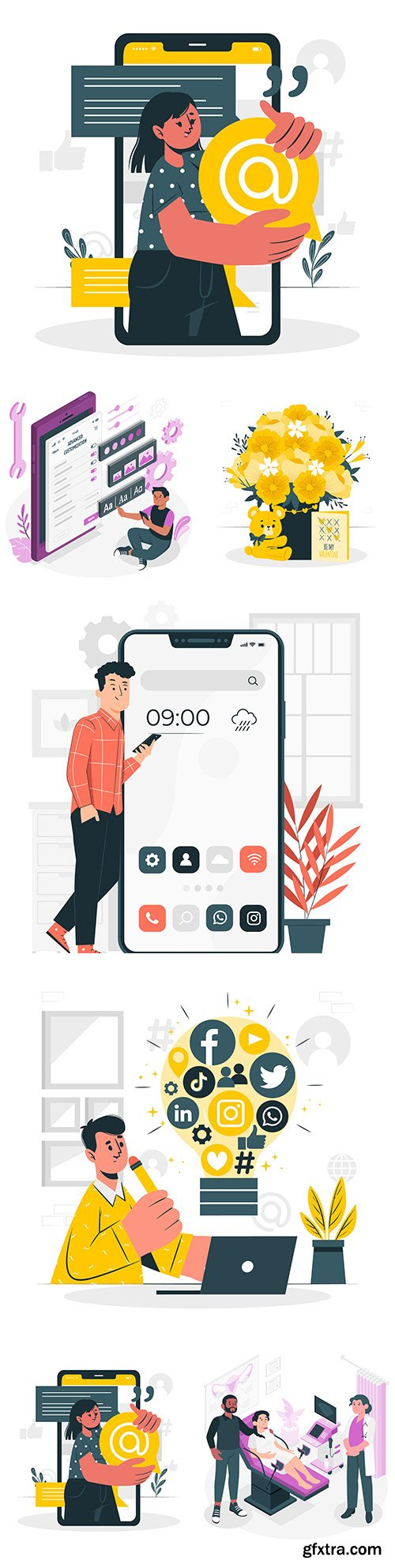 People lifestyle and different situations flat design illustration 8