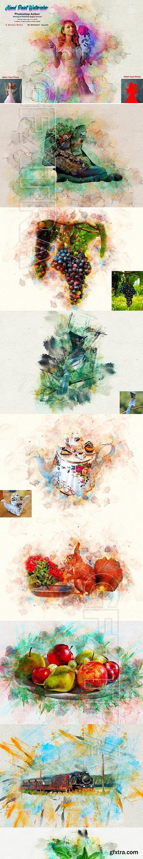 CreativeMarket - Hand Paint Watercolor Photoshop Action 5628157