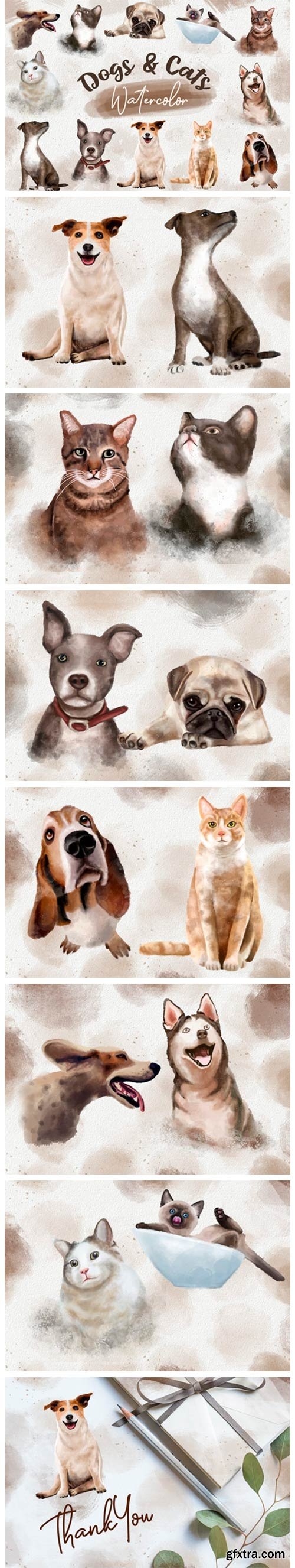 Dogs and Cats Watercolor Collection 7406108