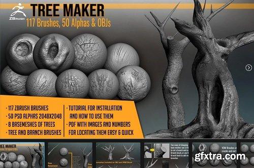 Tree Maker: 117 ZBrush Brushes, 50 Alphas and 8 Tree Basemeshes