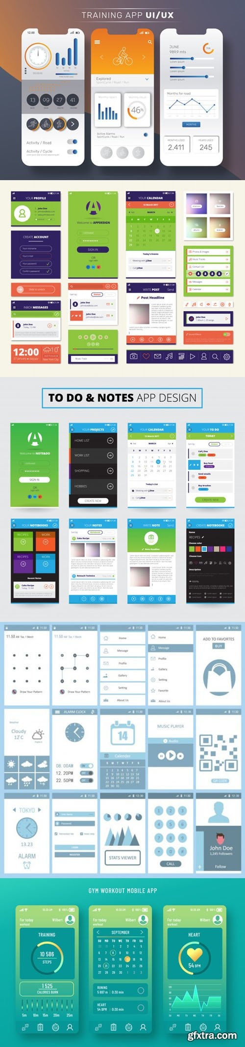 5 Mobile Apps Screens Vector Templates Collection