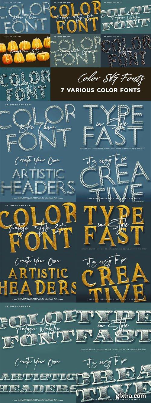 7 Color SVG Fonts Vol.3