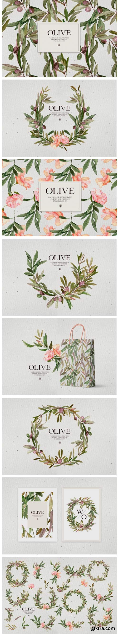 Watercolor Olive - Patterns and Frames 7707354