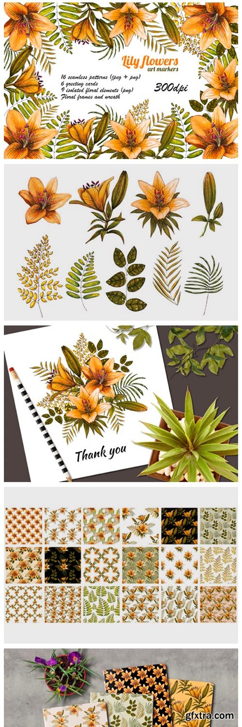Orange Lilies. Patterns and Postcards 7186291