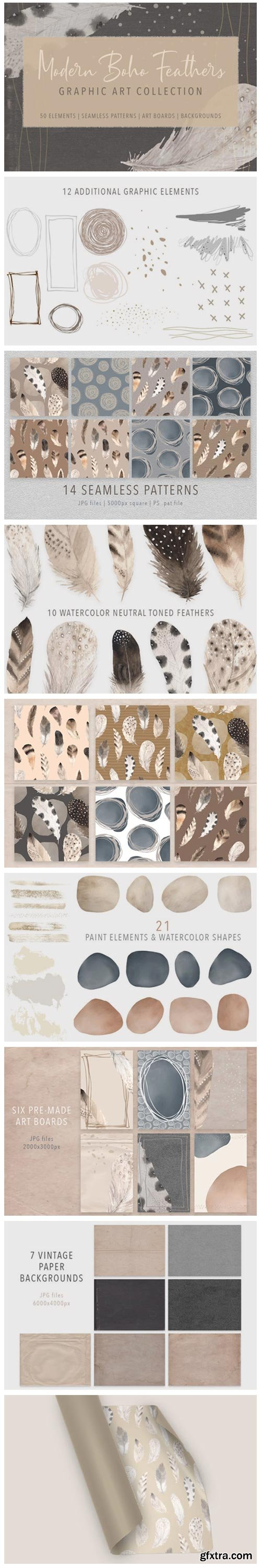 Modern Boho Feather Graphics Collection 7707370