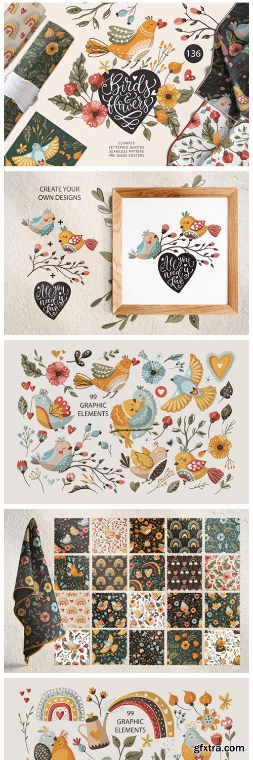 Birds & Flowers. Spring Floral Bundle 7709572