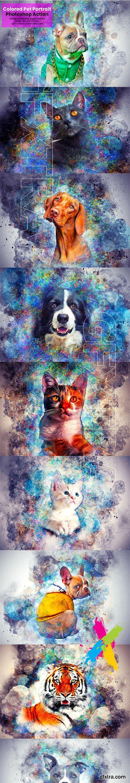 CreativeMarket - Colored Pet Portrait PS Action 5635740