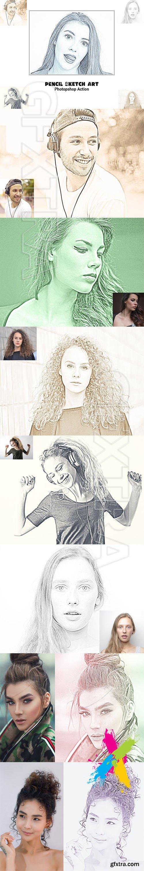 CreativeMarket - Pencil Sketch Art Photoshop Action 5129372
