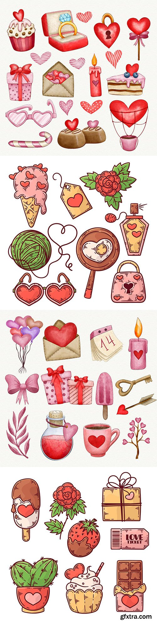 Collection elements for Valentine's Day watercolor design