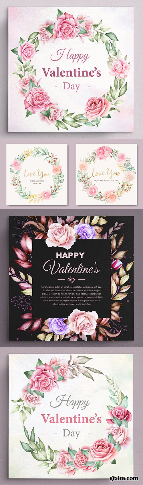 Valentine's Day greeting wreath flower card illustration
