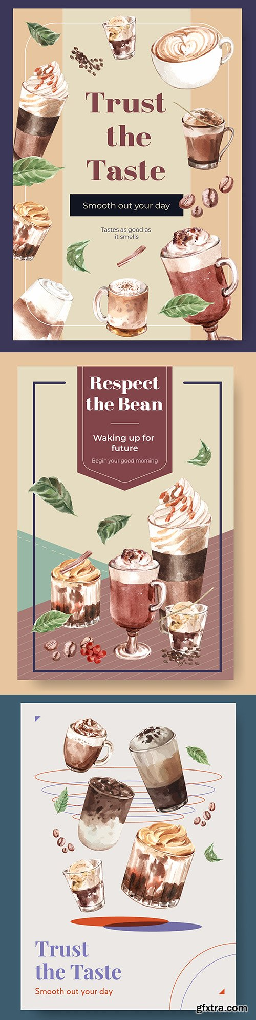 Poster template coffee for advertising and marketing watercolor
