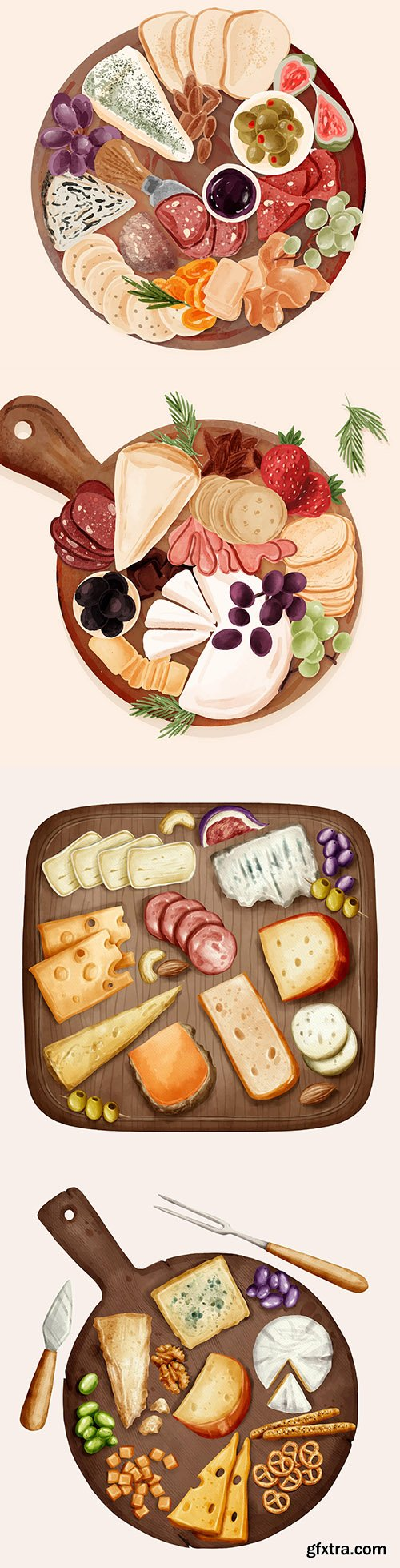 Cutting cheese on wooden board watercolor illustration