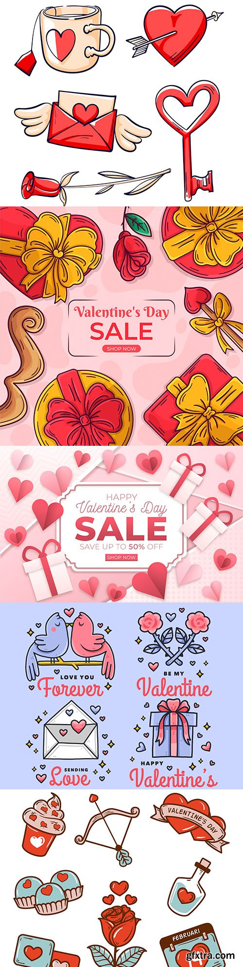 Valentine's Day sale and collection of illustration icons