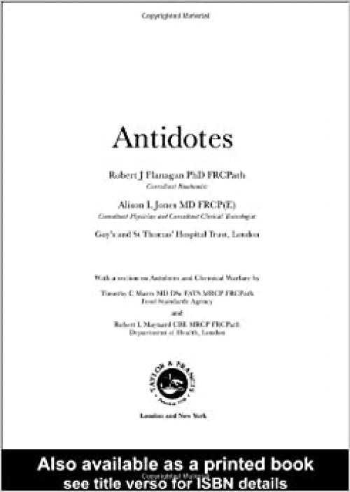 Antidotes: Principles and Clinical Applications