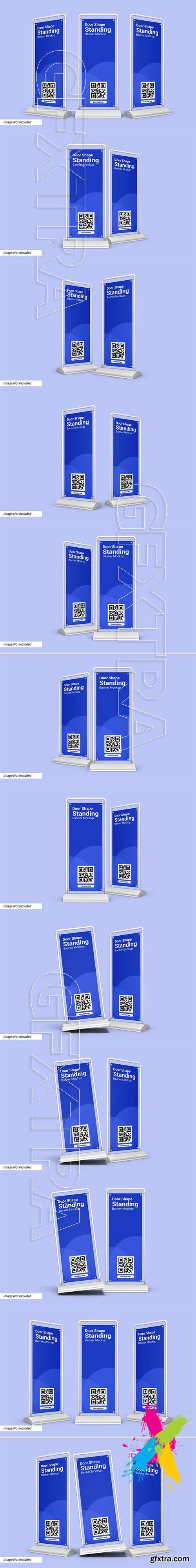 Door shape standing banner mockup