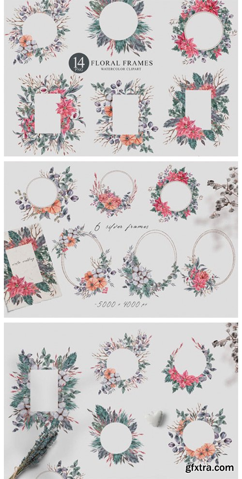 14 Watercolor Christmas Frames Clipart 6980630