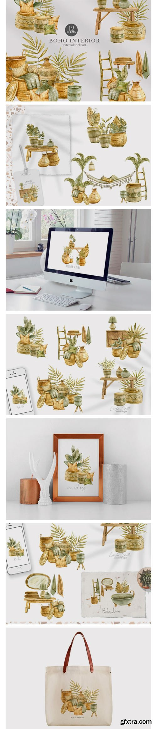 Watercolor Boho Interior Decor Clipart 7551800