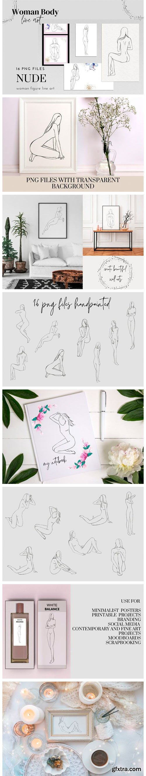 Woman Nude Line Drawing Clipart, Female 7717950