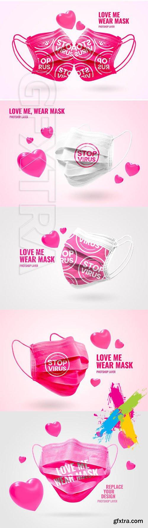 Mask valentine mockup