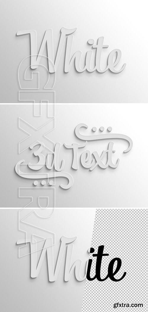 White 3d text effect with shadow