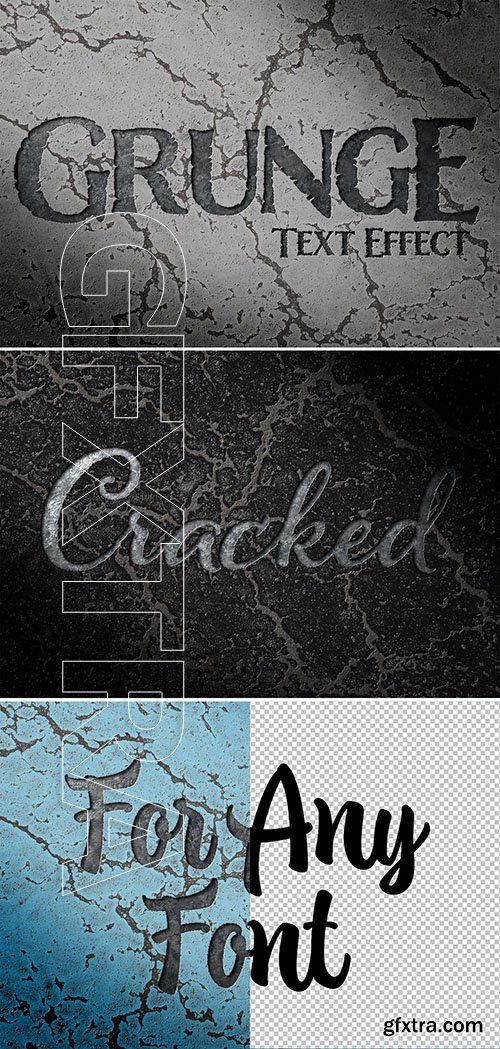 Debossed text effect on cracked surface