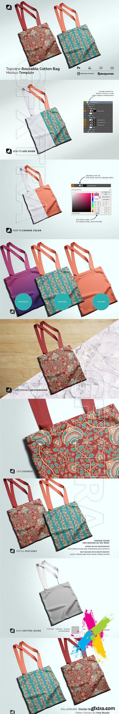 CreativeMarket - Topview Reusable Cotton Bag Mockup 5165533