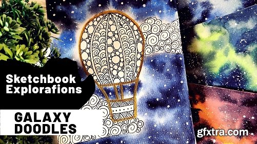 Sketchbook Explorations : Ink and Watercolor galaxy doodles