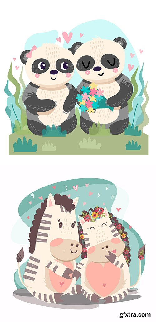 Hand-Drawn Valentines day animals couple