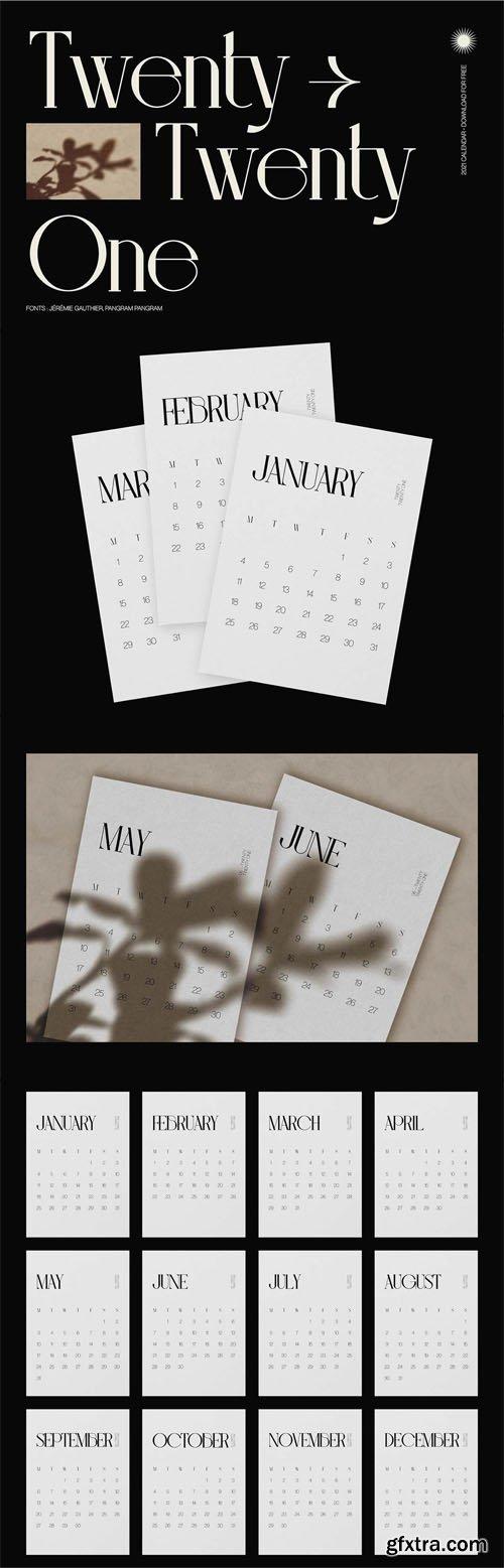 Twenty-Twenty One - 2021 Stylish Calendar Template [12-Months]
