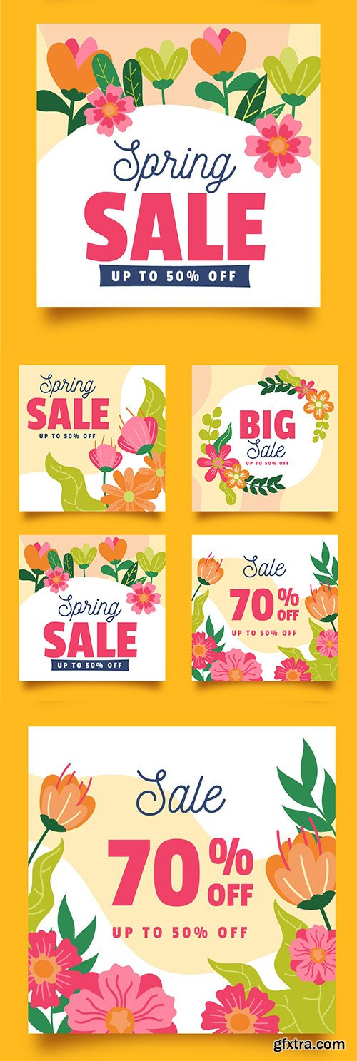 Spring sales and special discounts flat design