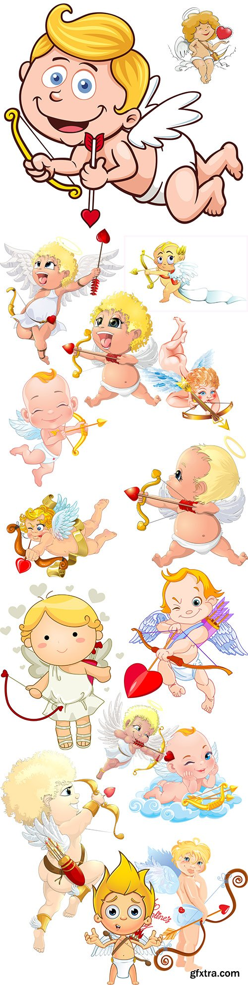 Funny cartoon cupid St. Valentine's day romantic collection