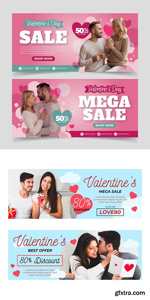 Valentine's Day holiday sales design template banners 3