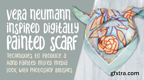 Vera Neumann Inspired Design Using Photoshop Brushes - Natural Mixed Media Painted Artwork Scarf